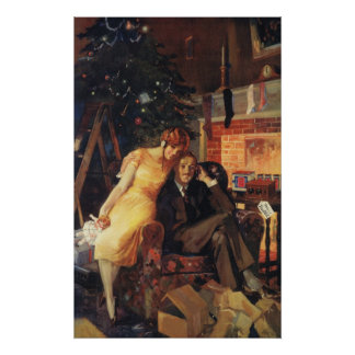 Navidad del vintage, amor y pares del romance póster