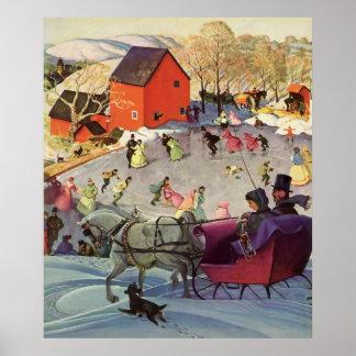 Navidad del vintage, amor y trineo del romance póster