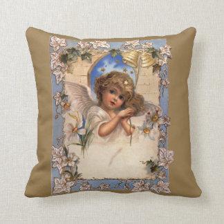 Navidad del vintage, ángel del Victorian con el Cojín