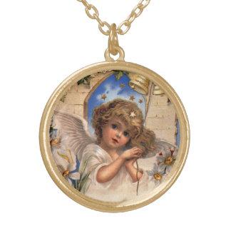 Navidad del vintage, ángel del Victorian con el Collar Dorado