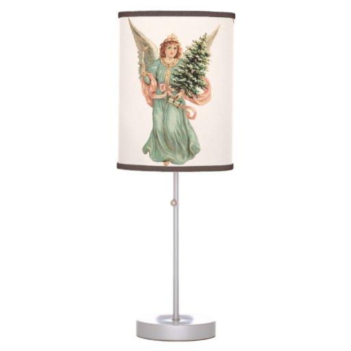 Navidad del vintage, ángel del Victorian con el Lámpara De Escritorio