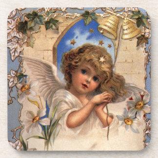 Navidad del vintage, ángel del Victorian con el Posavasos
