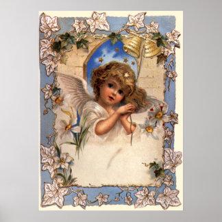 Navidad del vintage, ángel del Victorian con el Póster