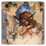 Navidad del vintage, ángel del Victorian con el Reloj Cuadrado