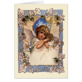 Navidad del vintage, ángel del Victorian con el Tarjeta De Felicitación