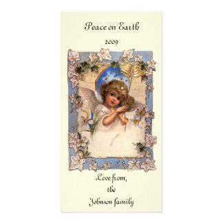 Navidad del vintage, ángel del Victorian con el Tarjetas Personales Con Fotos