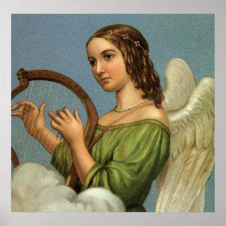 Navidad del vintage, ángel del Victorian con la Póster