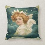 Navidad del vintage, ángel del Victorian con las Cojín