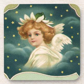 Navidad del vintage, ángel del Victorian con las Posavasos De Bebidas