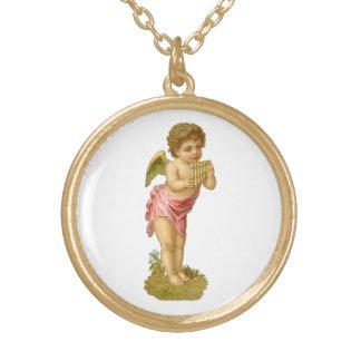 Navidad del vintage, ángel del Victorian con los Collar Dorado