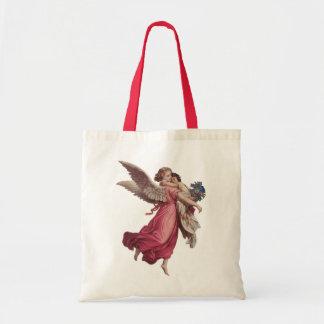 Navidad del vintage, ángel del Victorian que Bolsa Tela Barata
