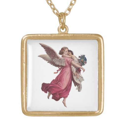 Navidad del vintage, ángel del Victorian que Colgante Cuadrado