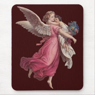 Navidad del vintage, ángel del Victorian que detie Alfombrilla De Raton