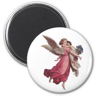 Navidad del vintage, ángel del Victorian que Imán Redondo 5 Cm