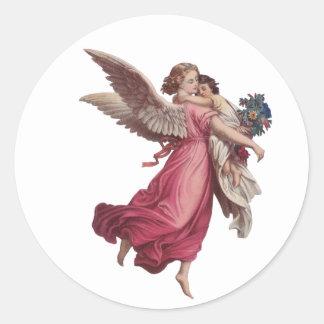 Navidad del vintage, ángel del Victorian que Pegatina Redonda