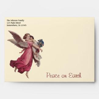 Navidad del vintage, ángel del Victorian que Sobres