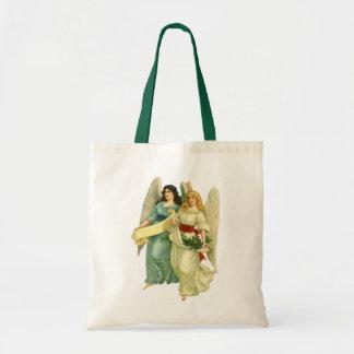 Navidad del vintage, ángeles angelicales del bolsa tela barata
