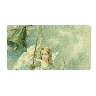 Navidad del vintage, ángeles del Victorian con Bel Etiquetas De Envío