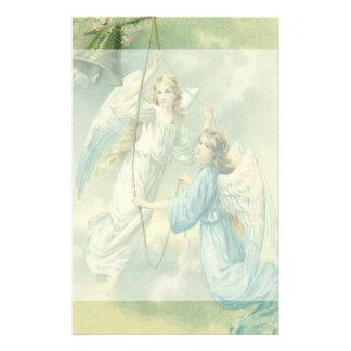 Navidad del vintage, ángeles del Victorian con una Papeleria