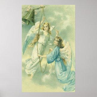 Navidad del vintage, ángeles del Victorian con una Póster