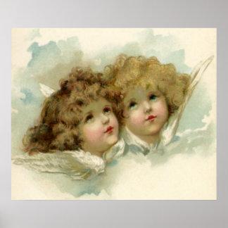 Navidad del vintage, ángeles del Victorian en las Póster