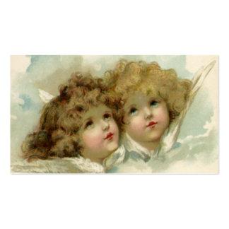 Navidad del vintage, ángeles del Victorian en las Tarjetas De Visita
