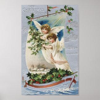 Navidad del vintage, ángeles del Victorian en un Póster