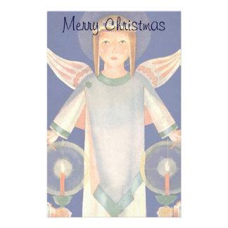 Navidad del vintage, ángeles escandinavos de la papelería