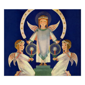 Navidad del vintage, ángeles escandinavos de la póster
