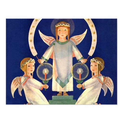 Navidad del vintage, ángeles escandinavos de la Sa Invitaciones Personales