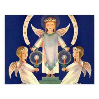 Navidad del vintage ángeles escandinavos de la Sa Invitaciones Personales