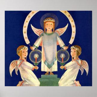 Navidad del vintage, ángeles escandinavos de la Sa Poster