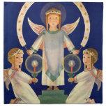 Navidad del vintage, ángeles escandinavos de la servilleta de papel