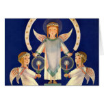 Navidad del vintage, ángeles escandinavos de la felicitación