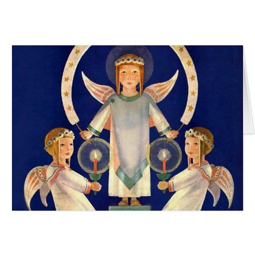 Navidad del vintage, ángeles escandinavos de la tarjeta de felicitación