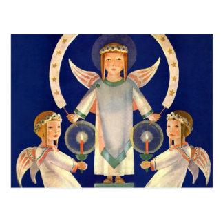 Navidad del vintage, ángeles escandinavos de la postales