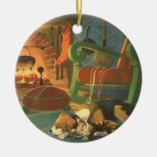 Navidad del vintage, animales el dormir por la adorno navideño redondo de cerámica