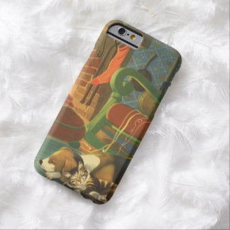 Navidad del vintage, animales el dormir por la funda para iPhone 6 barely there