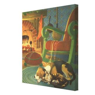 Navidad del vintage, animales el dormir por la impresiones en lona