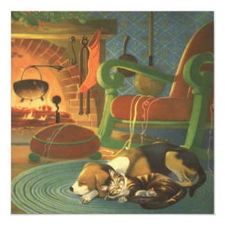 """Navidad del vintage, animales el dormir por la invitación 5.25"""" x 5.25"""""""
