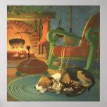 Navidad del vintage, animales el dormir por la poster