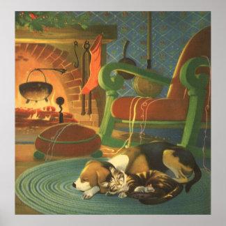 Navidad del vintage, animales el dormir por la póster