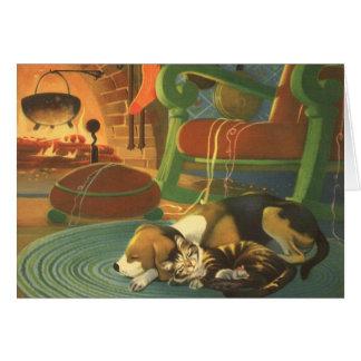 Navidad del vintage, animales el dormir por la tarjeta de felicitación