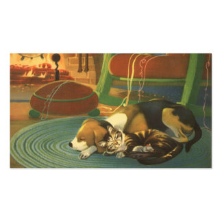 Navidad del vintage, animales el dormir por la tarjetas de visita