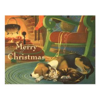 Navidad del vintage, animales el dormir por la tarjetas postales