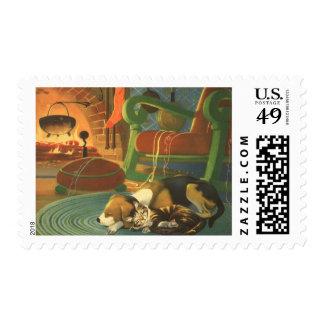 Navidad del vintage, animales el dormir por la timbre postal