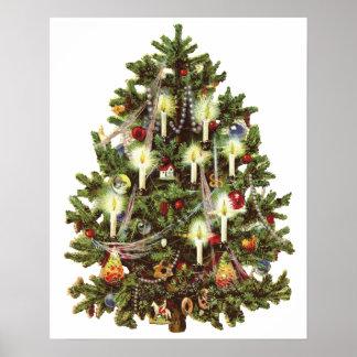 Navidad del vintage, árbol adornado del Victorian Póster