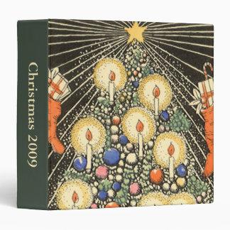 """Navidad del vintage, árbol con las velas y una carpeta 1 1/2"""""""