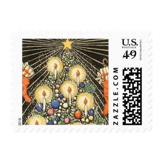 Navidad del vintage, árbol con las velas y una sello