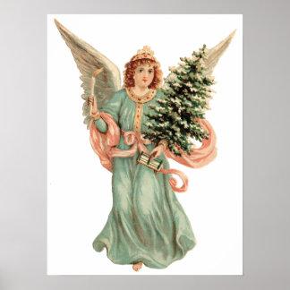 Navidad del vintage, árbol de la vela del ángel de poster